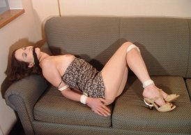 Pretty Brunette Girlfriend Gagged and Bound for Fun