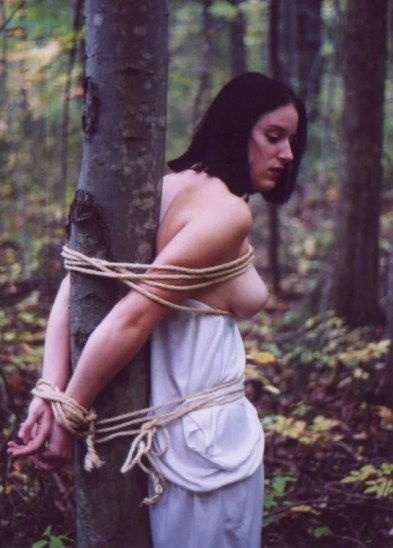 Sexy Vintage Model Bound and Stripped in the Woods