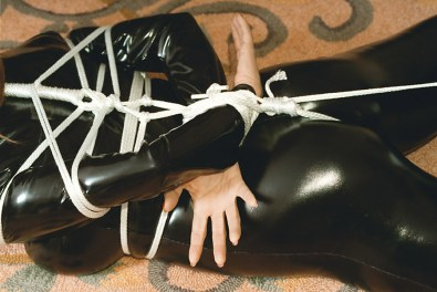 Bondage Queen Ashley Renee Hogtied, Gagged and Punished in Latex Catsuit