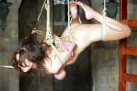 Bondage Queen Ashley Renee Suspended and Dominated in Dungeon