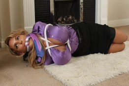Busty Blond Secretary Cleave Gagged, Hogtied and Degraded by Boss for Fun