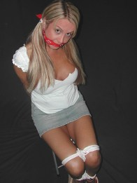 Cute Blond Girlfriend Chair Tied, Cleave Gagged and Blindfolded for Fun