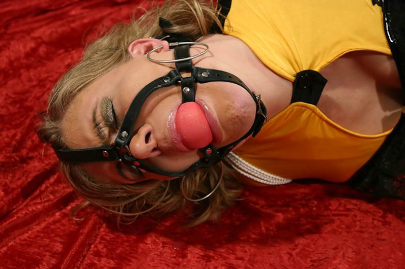 Hot Blond MILF Tied Up and Harness Gagged in Corset and High Heels