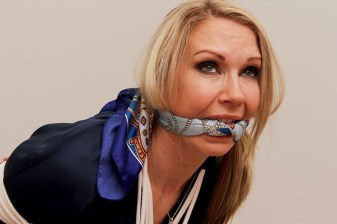 Hot Blond Wife Gets Bound and Scarf Gagged by Husband for Punishment