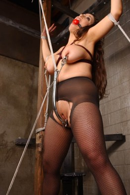 Jewell Marceau in High Heels Spread, Hooked and Gagged in Dungeon