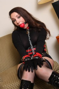 Jewell Marceau Restrained and Ball Gagged in Black Leotard