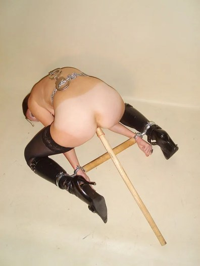 Kinky Russian Brunette Chained, Spread and Penetrated in High Heel Boots