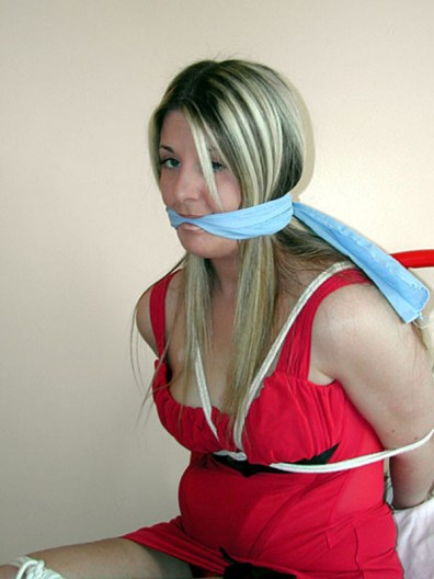 Pretty Blond Girlfriend Tied Up, Cleave Gagged and Blindfolded in Bedroom