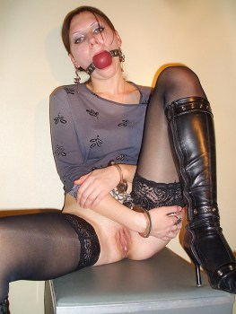 Pretty Model in Stockings Masturbates while Handcuffed and Ball Gagged