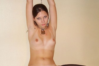 Sexy Russian Girlfriend Chained, Collared and Bottle Fucked in Stockings