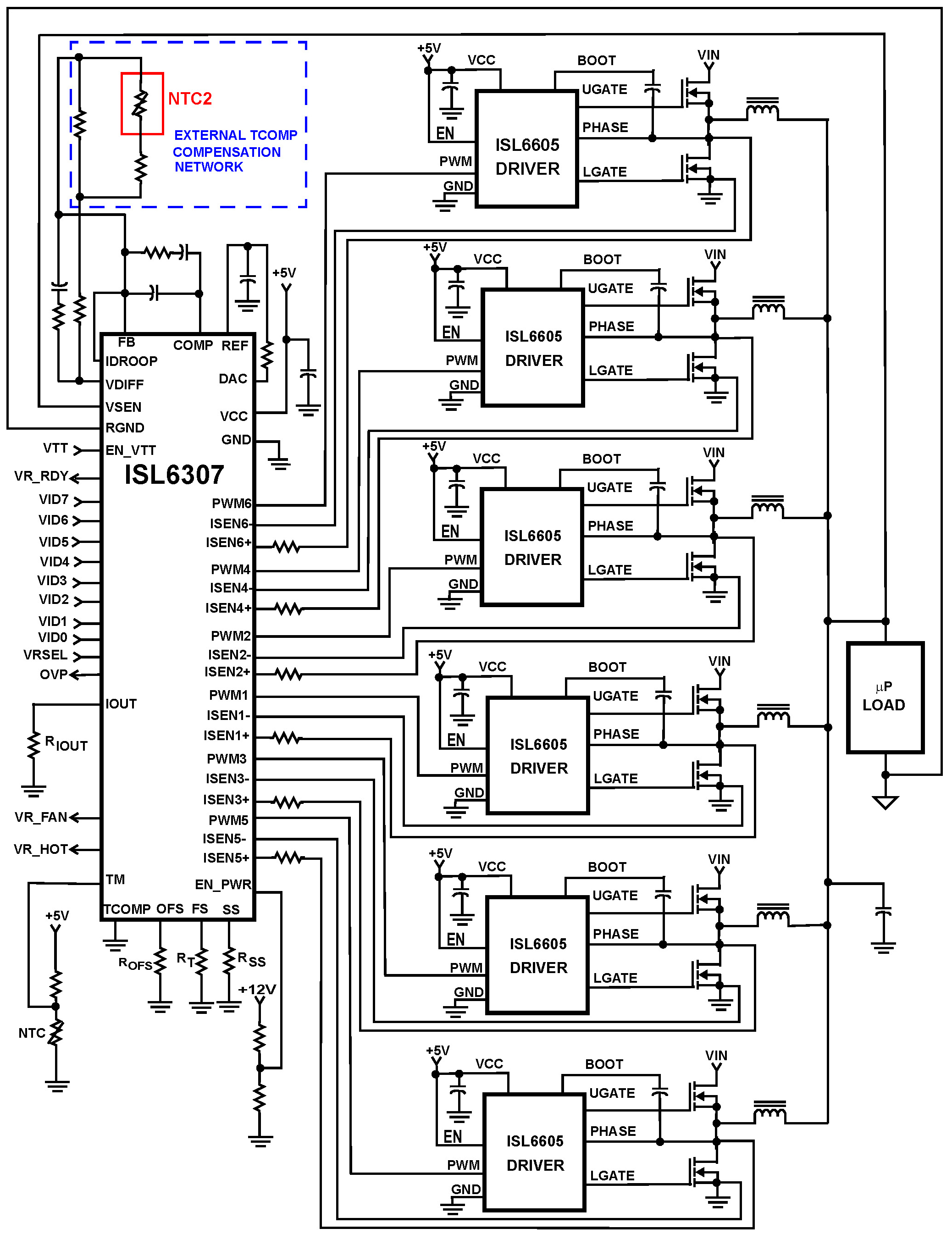 Isl 6 Phase Pwm Controller With 8 Bit Vid Code For