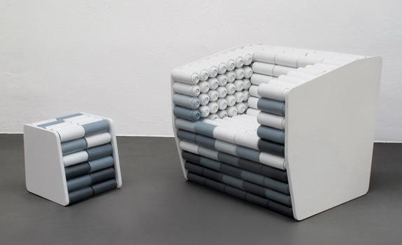 Poltrona ecológida construída pelo designer Luigi Semeraro (imagem do site Designboom)