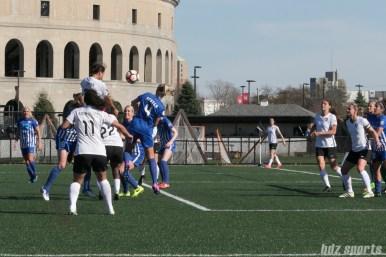 Sky Blue FC's Sam Kerr #20 heads the ball towards goal.