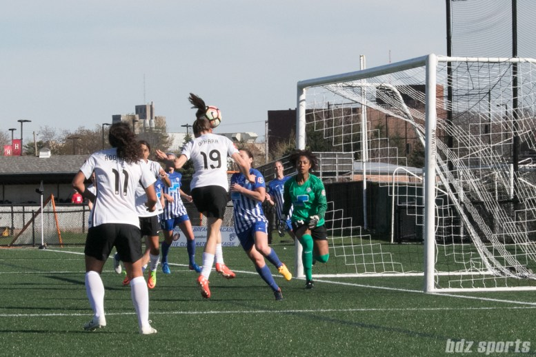 Sky Blue FC's Kelley O'Hara #19 redirects the ball to the Boston goal