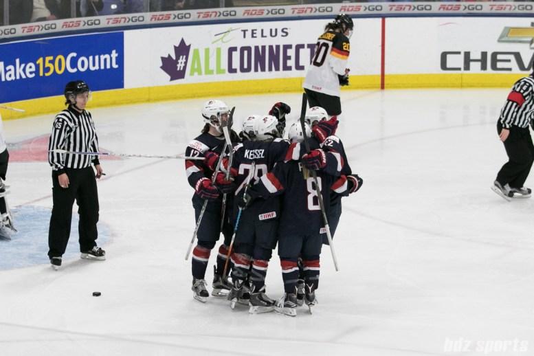 USA celebrates Amanda Pelkey's #37 goal.