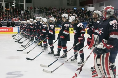 Team USA line up at the start of the game.