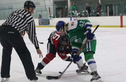 New York Riveters Alexa Gruschow and Connecticut Whale Celeste Brown face off