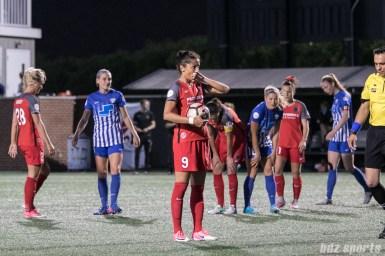Portland Thorns FC forward Nadia Nadim (9) prepares to take a penalty kick.