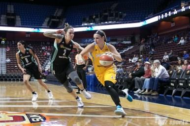 Sky's Tori Jankoska #3 drives to the basket.