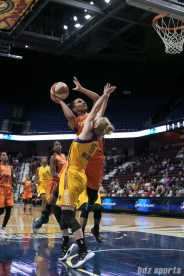Sparks' Jamie Weisner #15 stands upright to defend against the Sun's Alyssa Thomas #25.