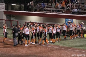The Chicago Bandits high five after defeating the Akron Racer 9 - 4 on June 2, 2017.