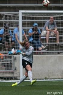 Chicago Red Stars goalkeeper Alyssa Naeher (1) takes a goal kick.