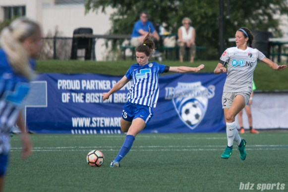 Boston Breakers midfielder Morgan Andrews (25) sends the ball up the field.