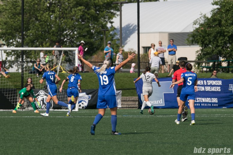Boston Breakers forward Adriana Leon (19) looks for the offside call as North Carolina Courage forward Ashley Hatch (12) splits the Breakers defense to score the game's only goal.