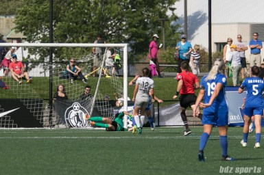 North Carolina Courage forward Ashley Hatch (12) looks on as her shot hits the inside netting for the game's lone goal.