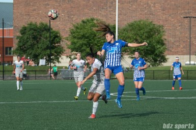 Boston Breakers defender Brooke Elby (3) heads the ball away