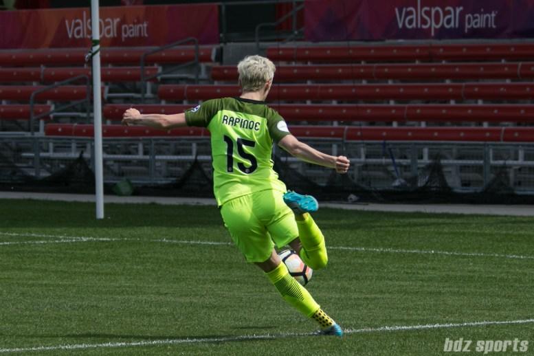 Seattle Reign FC forward Megan Rapinoe (15) sends in a cross.