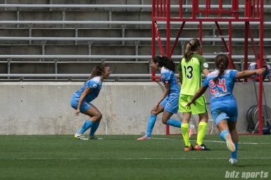 Chicago Red Stars forwards Sofia Huerta (11) and Christen Press (23) celebrate Press' goal.
