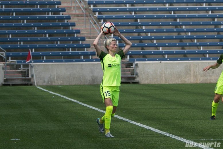 Seattle Reign FC forward Megan Rapinoe (15) takes a throw in.
