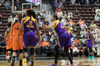 Los Angeles Sparks forward Candace Parker (3) expresses her disagreement with the referee call.