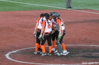 The Chicago Bandits infield huddle before the start of the game.