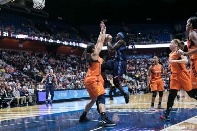 Atlanta Dream guard Matee Ajavon (10) drives to the basket.