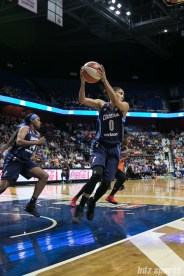 Atlanta Dream guard Meighan Simmons (0) comes up with the defensive rebound.