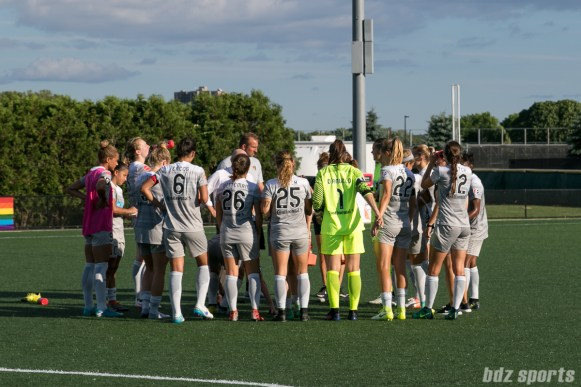 The North Carolina Courage huddle at the end of the game. Courage win 1-0 on the road against the Boston Breakers.