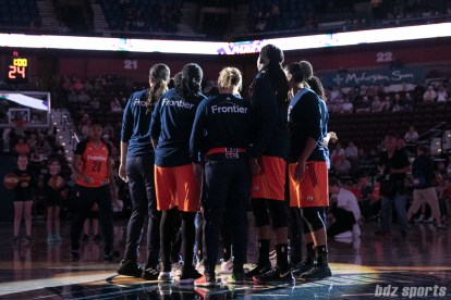 The Connecticut Sun huddle prior to the start of the game.