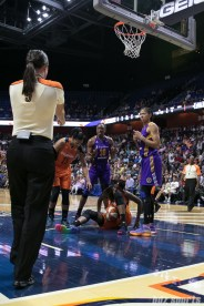 Los Angeles Sparks forwards Nneka Ogwumike (30) and Candace Parker (3) are confused by the referee call on the court.
