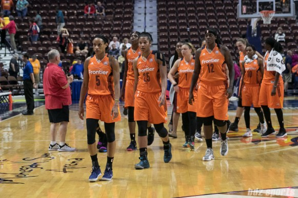 The Connecticut Sun walk off the court after losing 79 - 87 to the visiting Los Angeles Sparks.