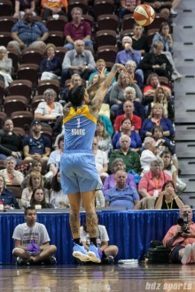 Chicago Sky forward Tamera Young (1) takes a 3-point shot.