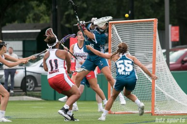 The shot from Boston Storm attacker Bre Hudgins (11) sails just over the crossbar.