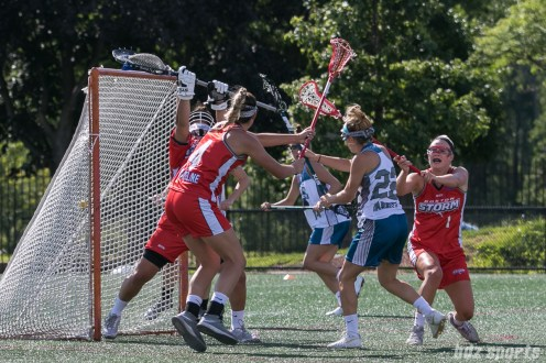 Philadelphia Force midfielder Emily Garrity's (22) shot finds the back of the net.