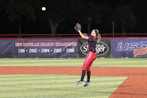Akron Racers second baseman Ashley Thomas (1) makes the catch for the out.
