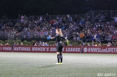 Chicago Red Stars goalkeeper Alyssa Naeher (1) stands in disbelief on the offsides call, negating a Red Stars goal.