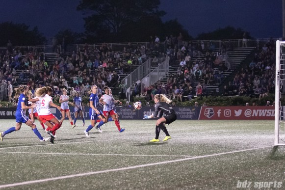 Chicago Red Stars goalkeeper Alyssa Naeher (1) collects the ball.