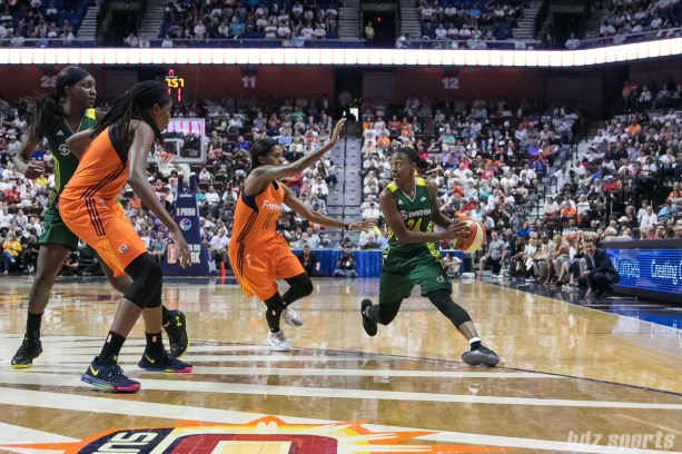 Seattle Storm guard Jewell Loyd (24) looks to dish off a pass.