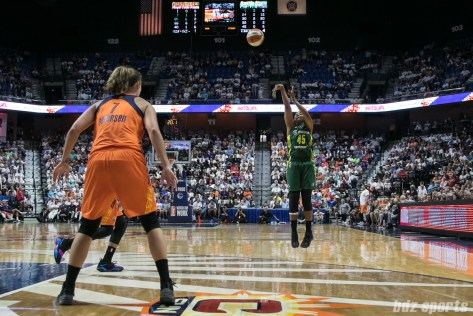 Seattle Storm guard Noelle Quinn (45) takes a jump shot.