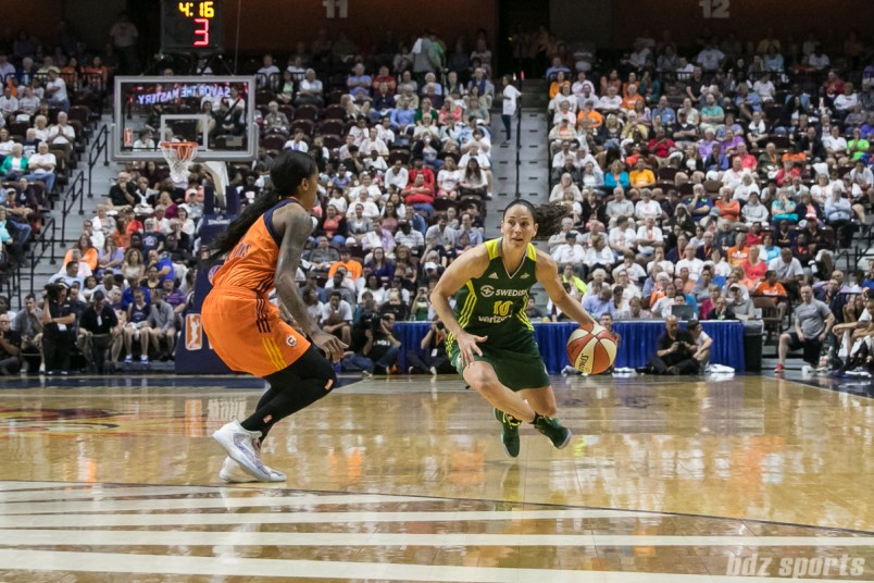 Seattle Storm guard Sue Bird (10) drives towards the basket.